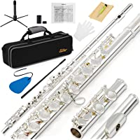Eastar EFL-2 Open/Close Hole C Flute 16 Keys Silver Plated Beginner Flute Set with Fingering Chart, Hard Case, Cleaning Rod, Cloth, Flute Swab, Screwdriver and Gloves
