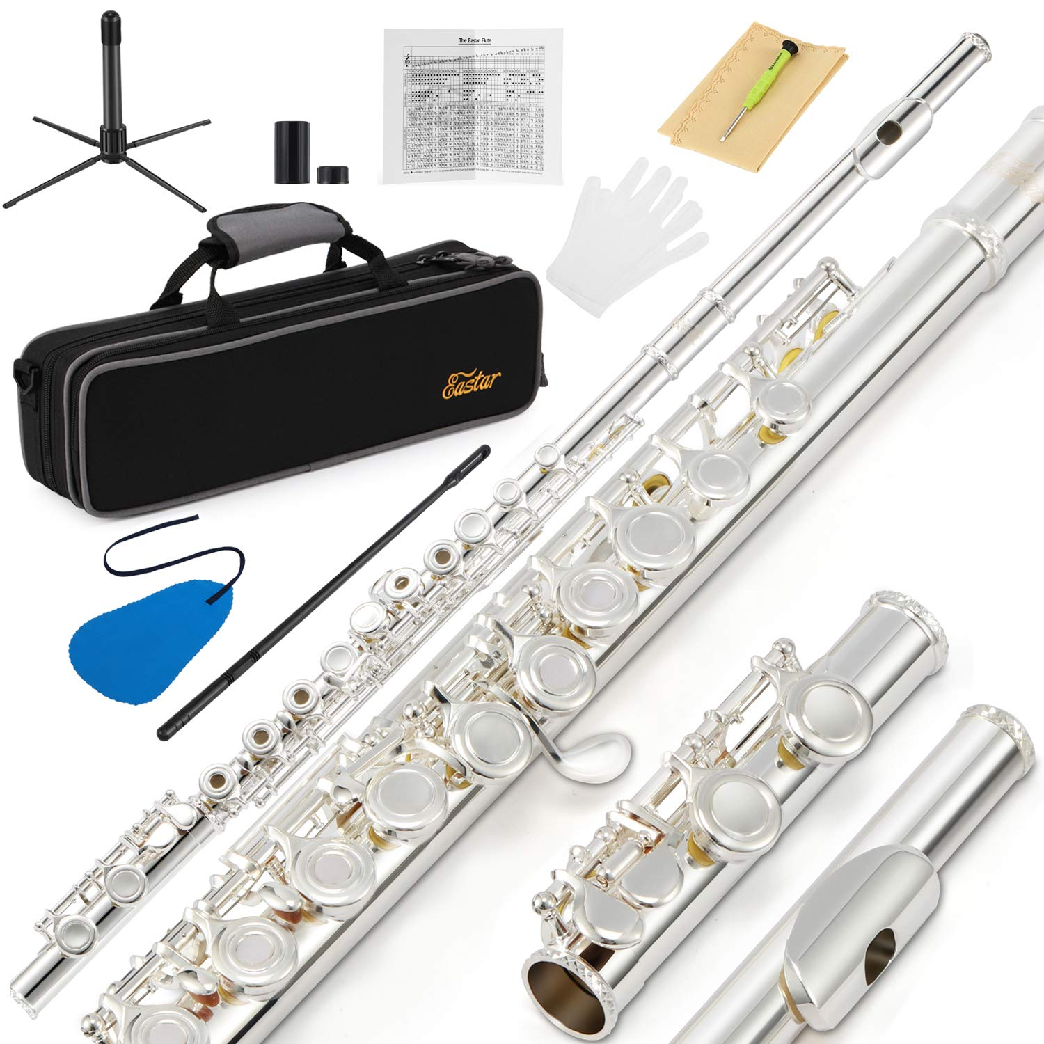 Eastar EFL-2 Open/Close Hole C Flutes 16 Keys Silver Plated Beginner Flute Set with Fingering Chart,Hard Case,Cleaning Rod,Cloth and Flute Swab,Screwdriver,and Gloves EB016-FBA-CA