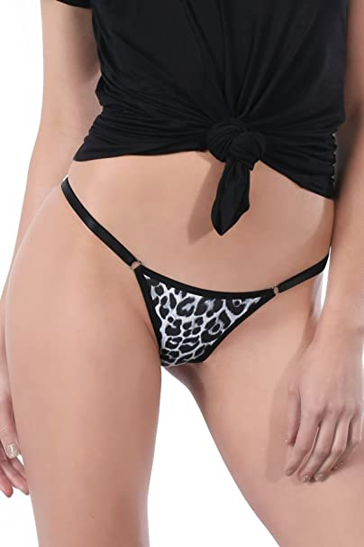 c4b326e23dc Image Unavailable. Image not available for. Color: GB Intimates Black  Cheetah Brazilian String Bikini Underwear Adjustable Cheeky Panty Women's  Panties ...