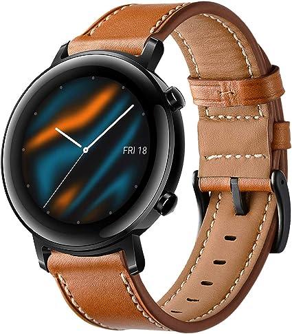Imagen deSPGUARD Pulsera Compatible con Correa Huawei Watch GT 2 42mm,Pulsera de Repuesto de Cuero de 20mm con Liberación Rápida para Huawei Watch GT 2 42mm-Marrón