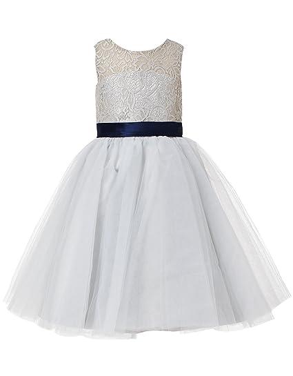 ba842e3ae Amazon.com  princhar Lace Short Girl Dress Little Girls Party ...