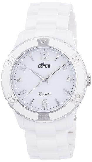 Lotus 15929/1 - Reloj de Cuarzo para Mujer, Correa de cerámica Color Blanco: Amazon.es: Relojes