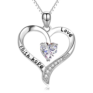 Amazon faith hope love jewelry gift 925 sterling silver quotfaith hope lovequot jewelry gift 925 sterling silver simple infinity love heart shaped aloadofball Image collections