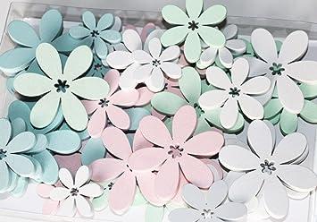 Fd 48 Stk Holz Blumen Weiss Grun Rosa Pastellfarben Blau Holzblumen