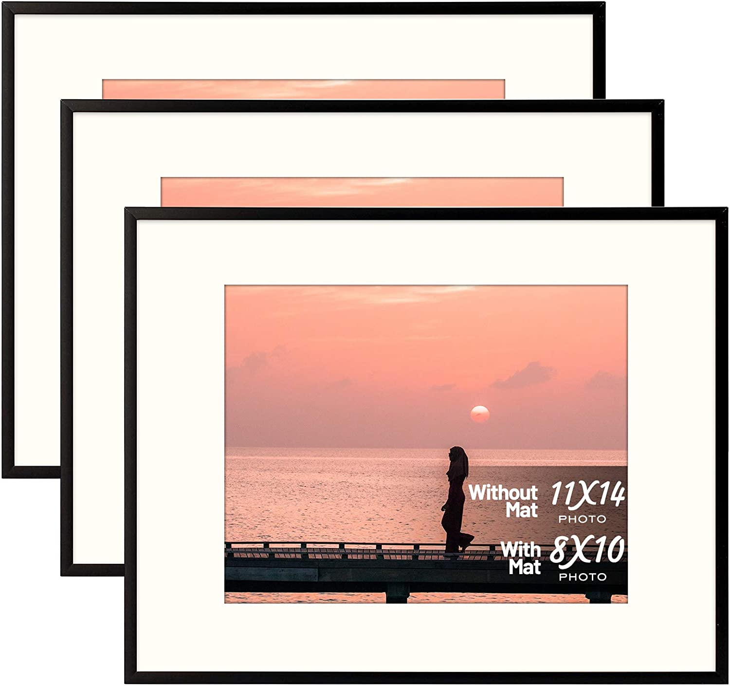 Set of Three - 11x14 Black Aluminum Frame - Ivory Mat for 8x10 Photo - Wall Mounting - Swivel Tabs, Spring Clips, Sawtooth Hangers - Aluminum Metal - Landscape/Portrait - Real Glass (Black - Set of 3)