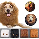 Lion Mane for Dog Costume Lion Wig Large Pet Festival Party Fancy Hair Dog Clothes with Ears-Color White