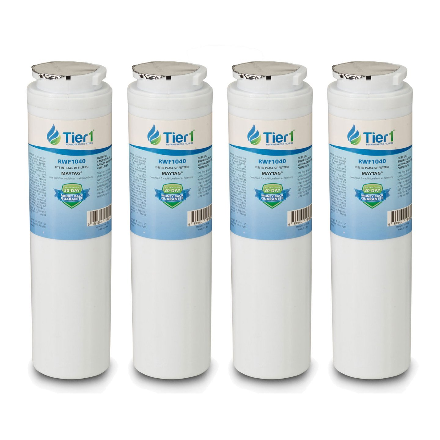 Tier1 Replacement Maytag UKF8001, EDR4RXD1, Whirlpool 4396395, PUR, Jenn-Air, Puriclean II, 469006, 469005 Refrigerator Water Filter 4 Pack
