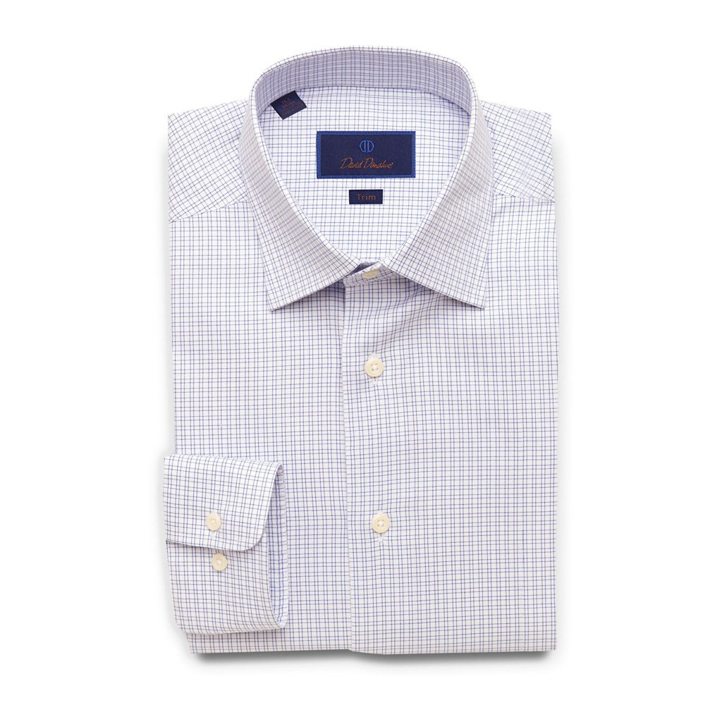 David Donahue Trim Fit Basket Weave Open Check Dress Shirt 17'' Neck 34/35'' Sleeve Blue by David Donahue