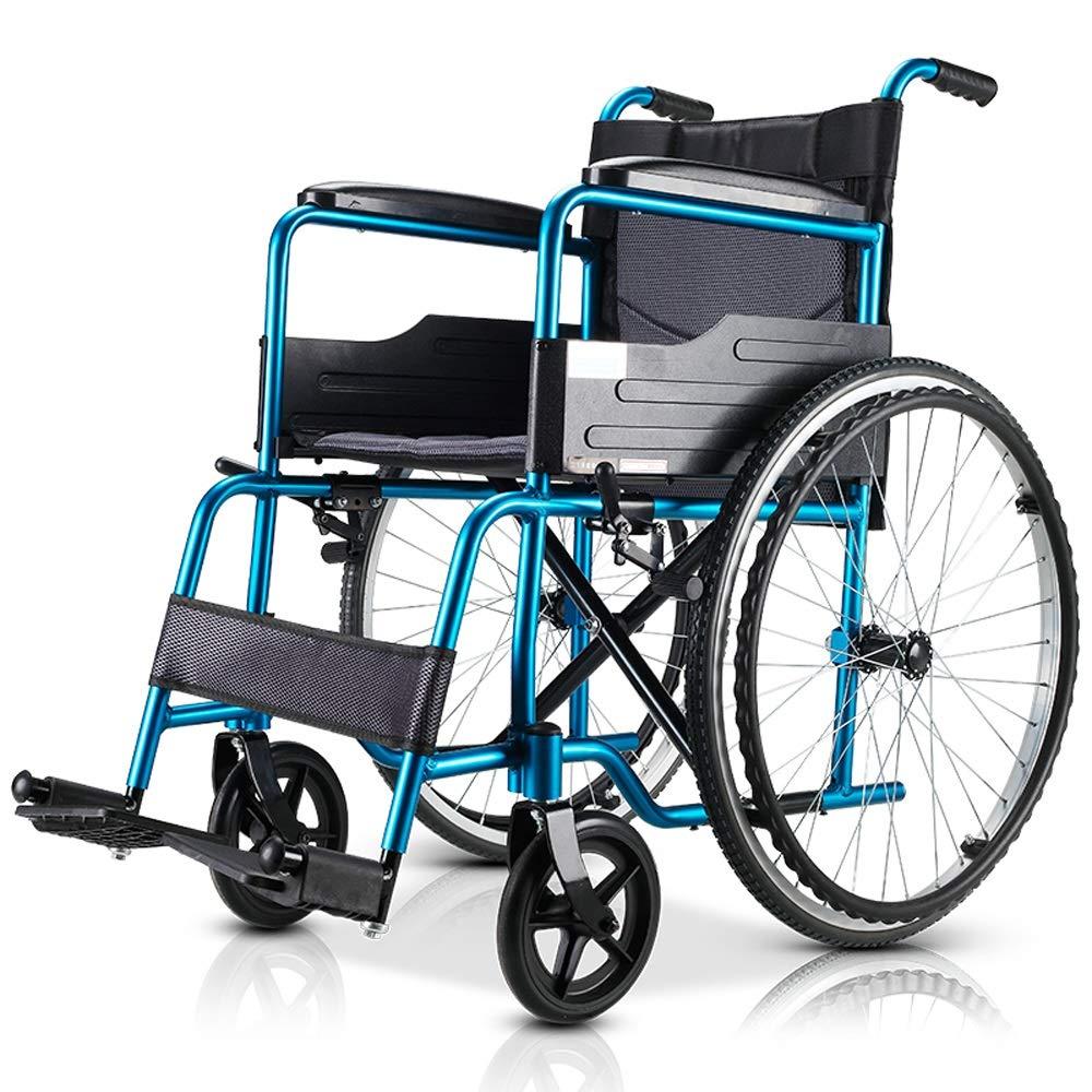 YANGLIYU Wheels Folding Self Propelled Wheelchair,Manual Wheelchair Scooter,Attendant-Propelled Wheelchair,Aluminium Wheelchair,red (Color : Blue)