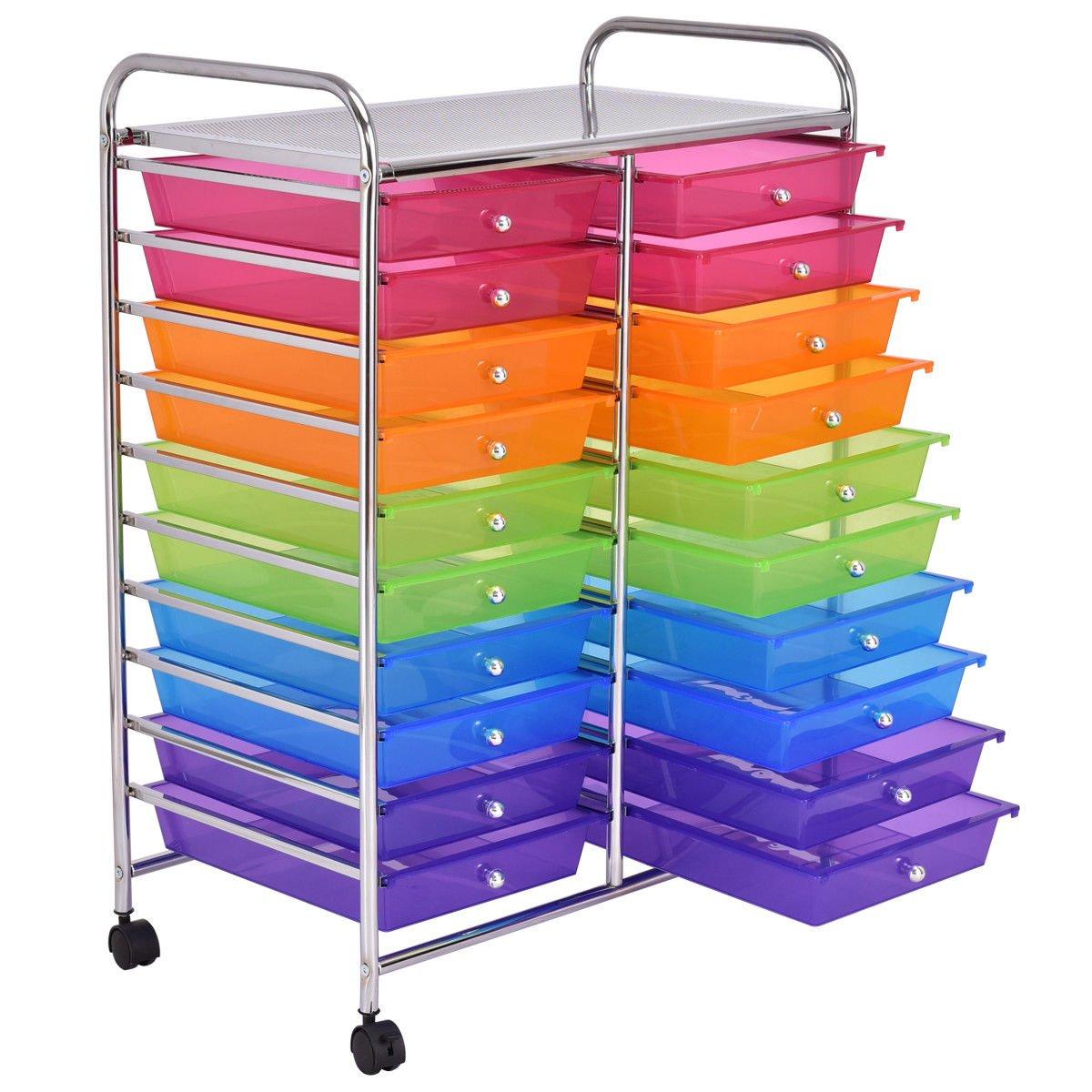20 Drawers Rolling Cart Storage Scrapbook Paper Studio Organizer Mutli Color