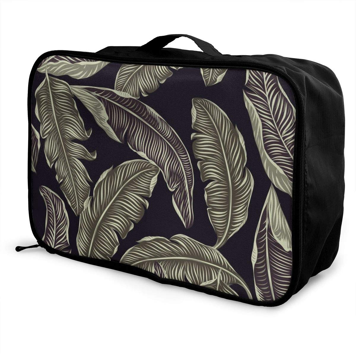 Jungle Leaf Tropical Art Watercolor Travel Lightweight Waterproof Foldable Storage Carry Luggage Large Capacity Portable Luggage Bag Duffel Bag