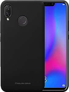 جراب خلفي ناعم من السيليكون غير اللامع مرن لهاتف Huawei Nova 3i Molan Cano اسود