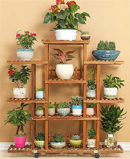 Amazon.com: Estante de flores de madera maciza AIDELAI para ...