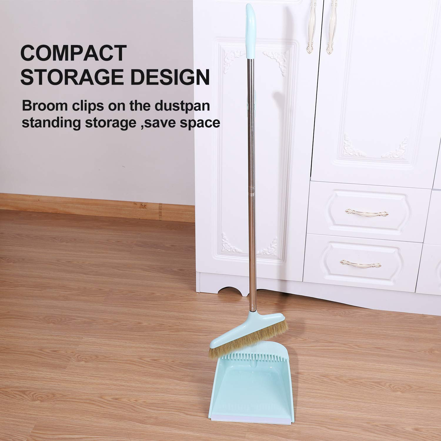 Midoneat Broom and Dustpan Set Squeegee 3 Packs Good Grips Sweep Set with Long Handle Natural hog Bristle Broom Rubber Lip Dustpan with Comb 180° Rotation Wiper .Sweeping for Kitchen Lobby Office by midoneat (Image #5)