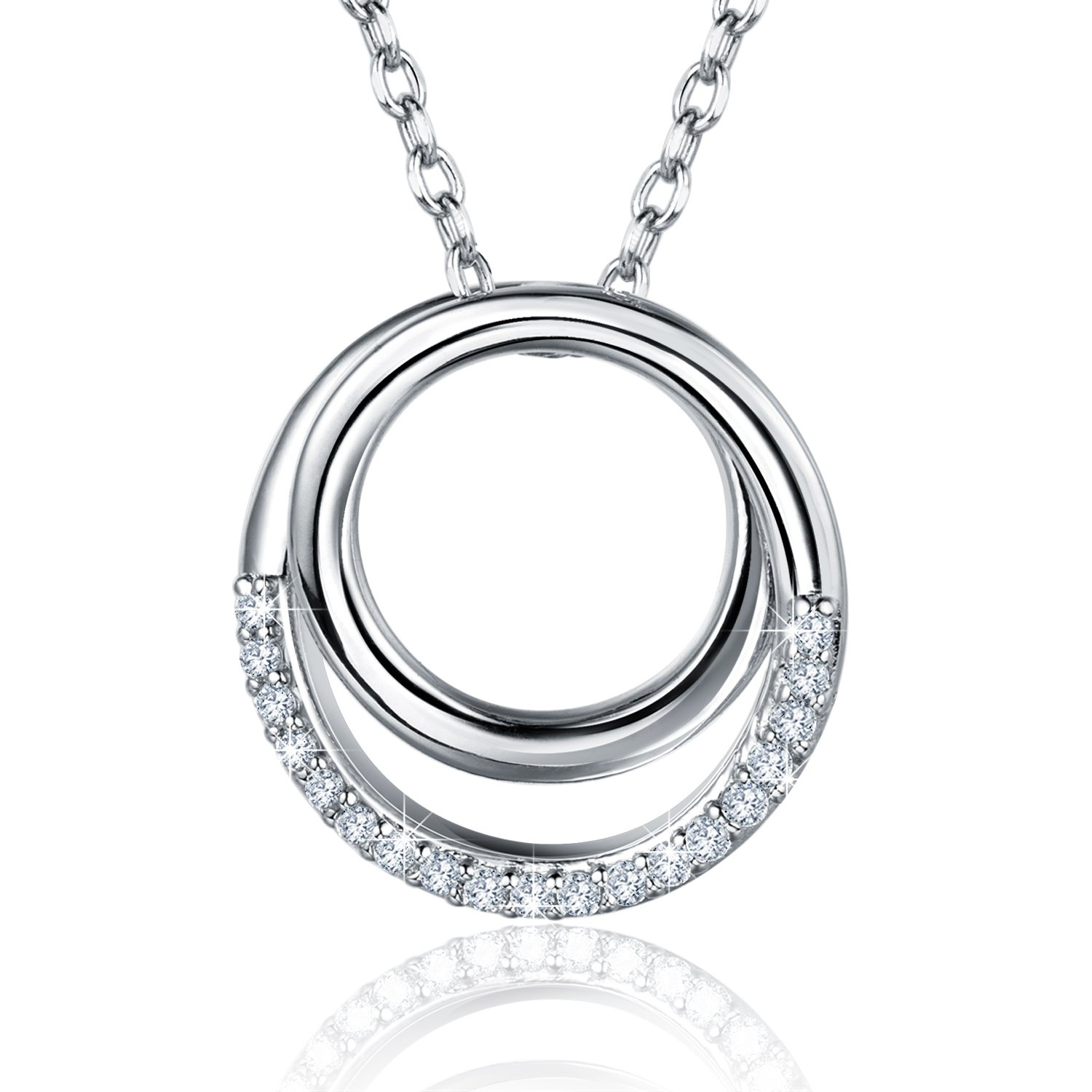 """Billie Bijoux 925 Sterling Silver Necklace """"Never Ever Be Apart"""" Love Infinity Ring Circle Pendant White Gold Plated Women Necklace Best Gift 18''"""