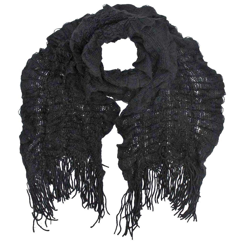 Luxury Divas Crochet Light Scarf With Fringe