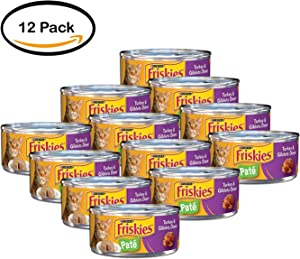 PACK OF 12 - Purina Friskies Classic Pate Turkey & Giblets Dinner Cat Food 5.5 oz. Can