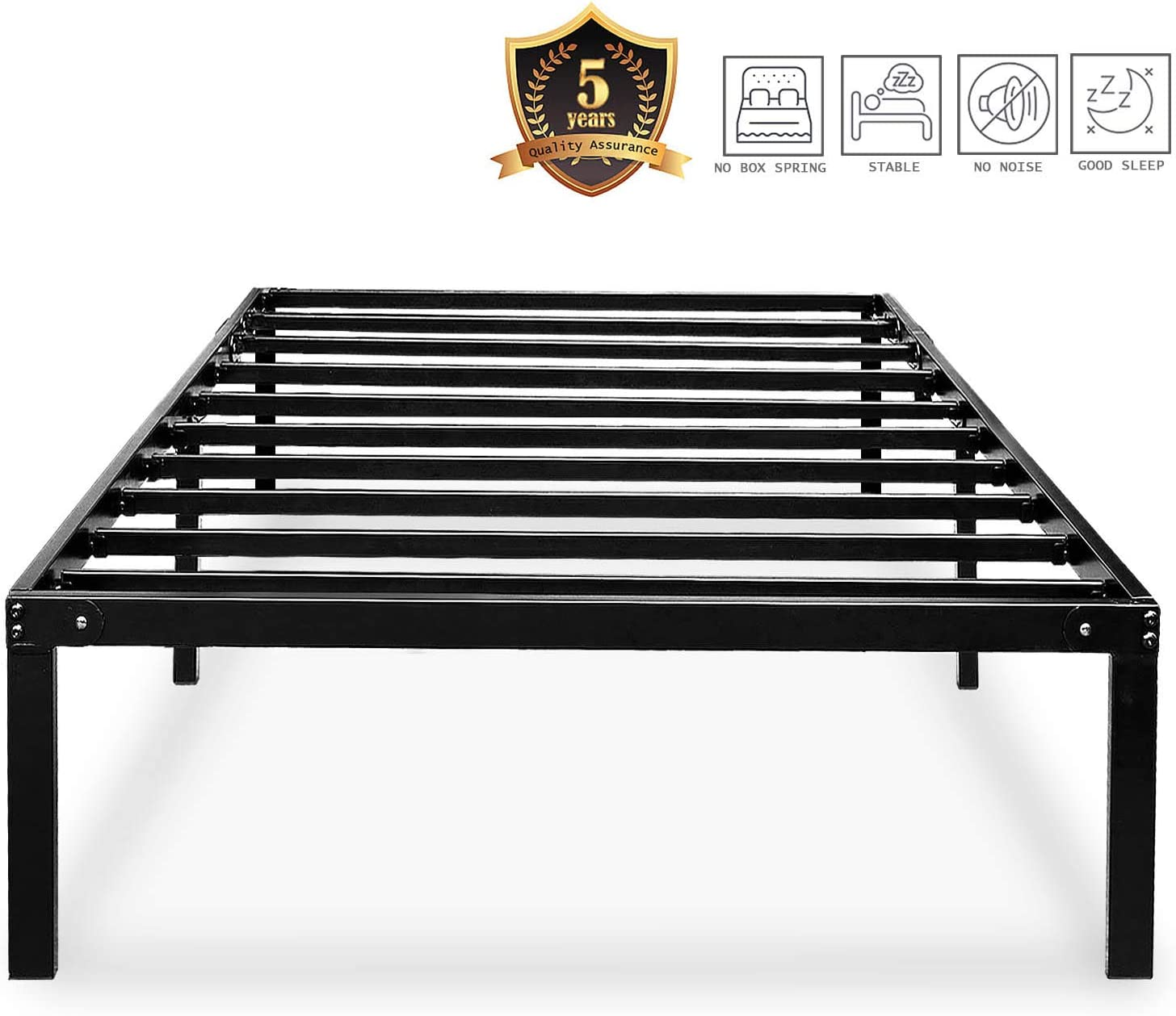 HAAGEEP Black Twin Metal Bed Frame No Boxspring Needed 14 Inch Beds Frames with Storage for Kids Girls Boys, at