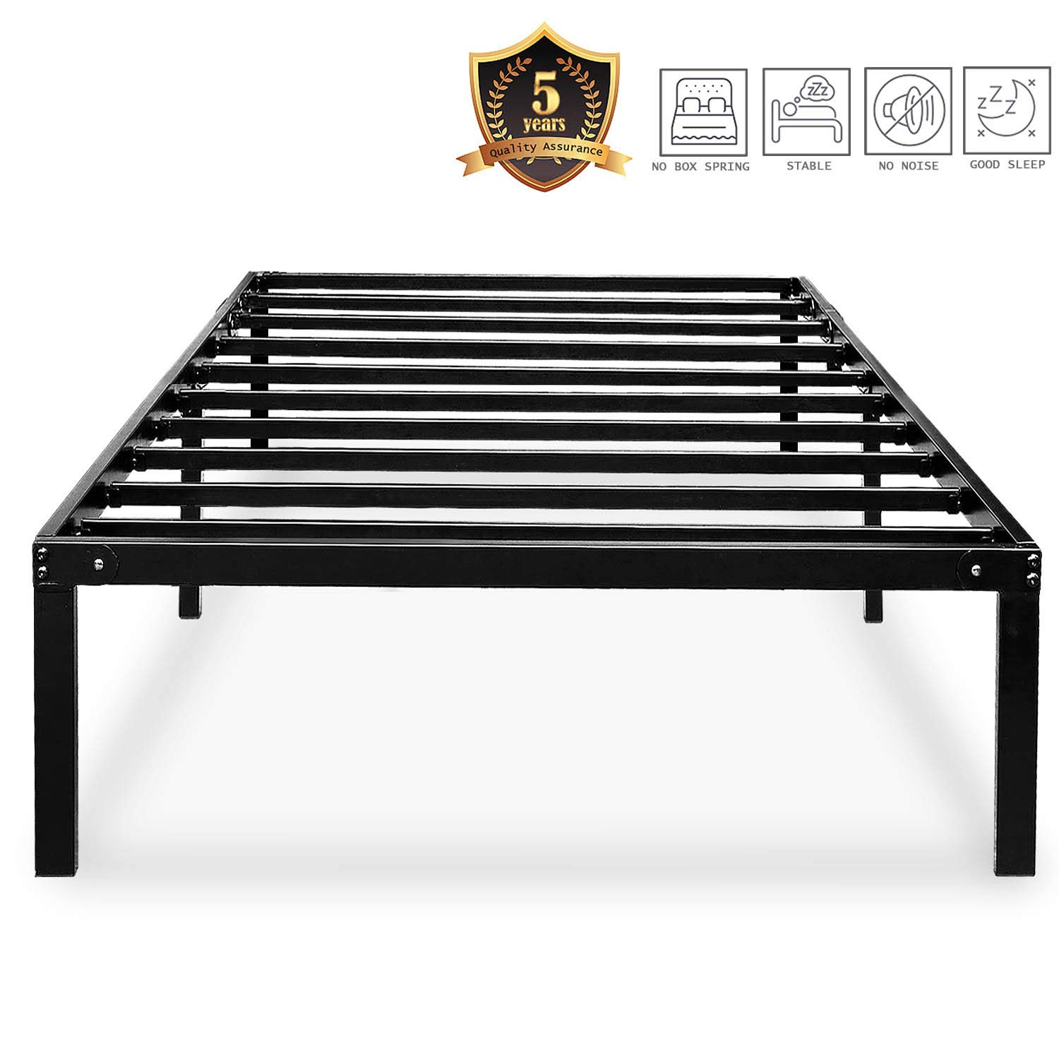 HAAGEEP Black Twin Metal Bed Frame No Boxspring Needed 14 Inch Beds Frames with Storage for Kids Girls Boys, at by HAAGEEP