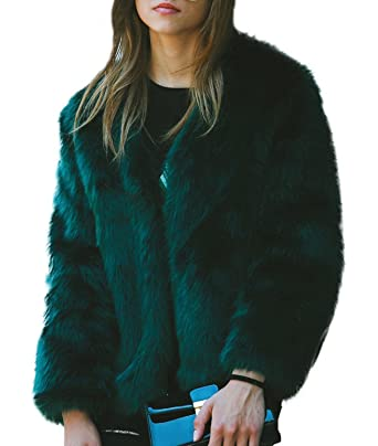 Choies Damen Fellmantel Kunstpelz Parka Einfarbig Faux Fur