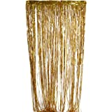 【ノーブランド品】光沢のある 金糸箔 フリンジ ウィンドウカーテン 結婚式 パーティーの装飾 2×1メートル 金