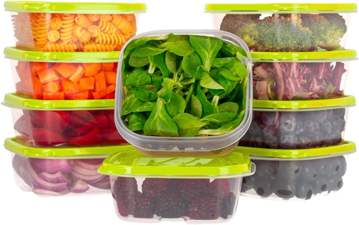 Oursson Food Storage Containers with Lids Airtight, BPA Free, Lunchbox – Reusable and Practical – Transparent Snack Containers with Colored Lids (10 x 14 oz, Green Apple)