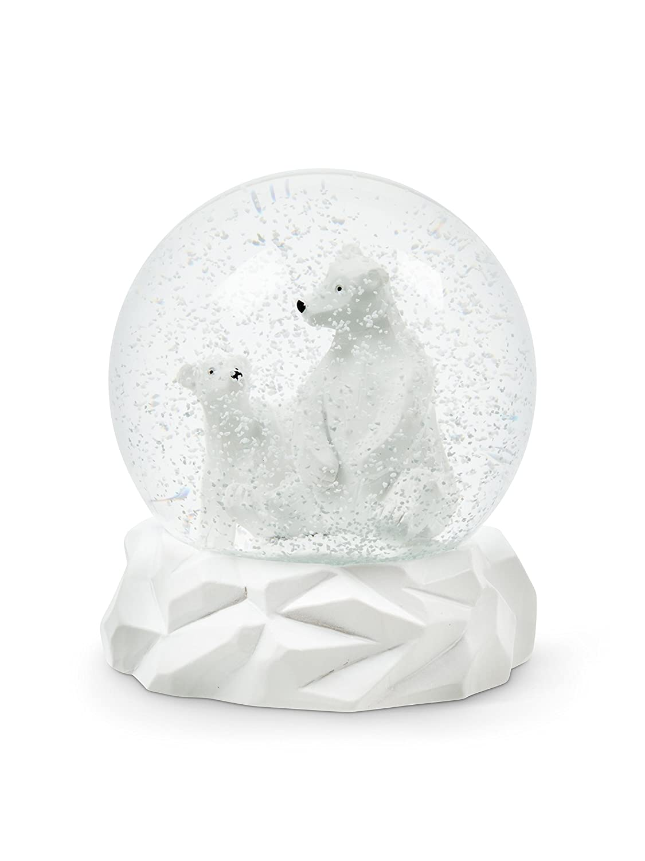Abbott Collection Polar Bears Snow Globe-4.5' H, White GLRCHI 27-SHAKE/POLAR