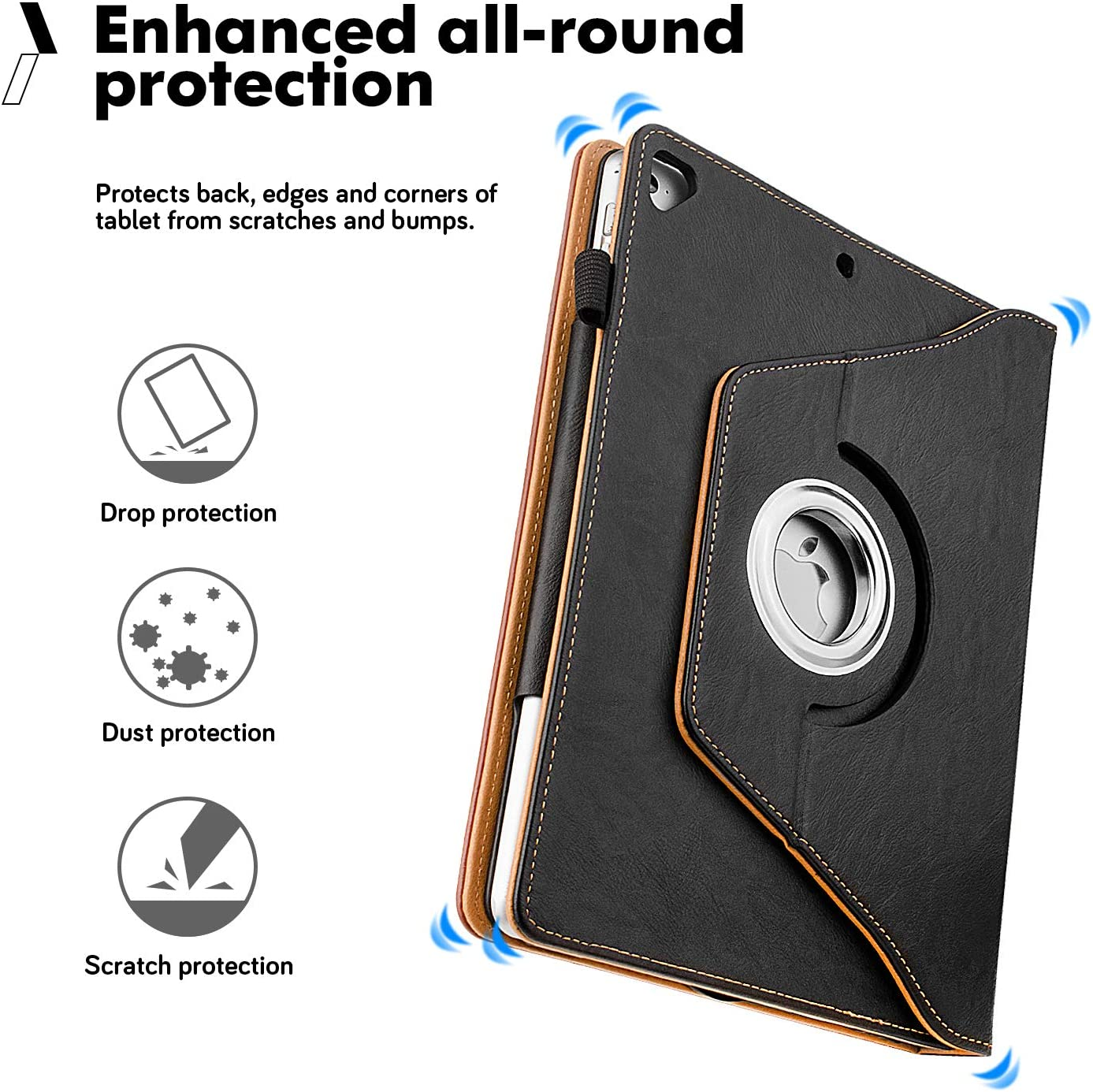 10.2-inch,2019 Releases ZoneFoker New iPad 7th Generation Tablet Leather Case Black//Brown 360 Degree Rotating Multi-Angle Viewing Folio Stand Cases with Pencil Holder for iPad 10.2 7th Gen