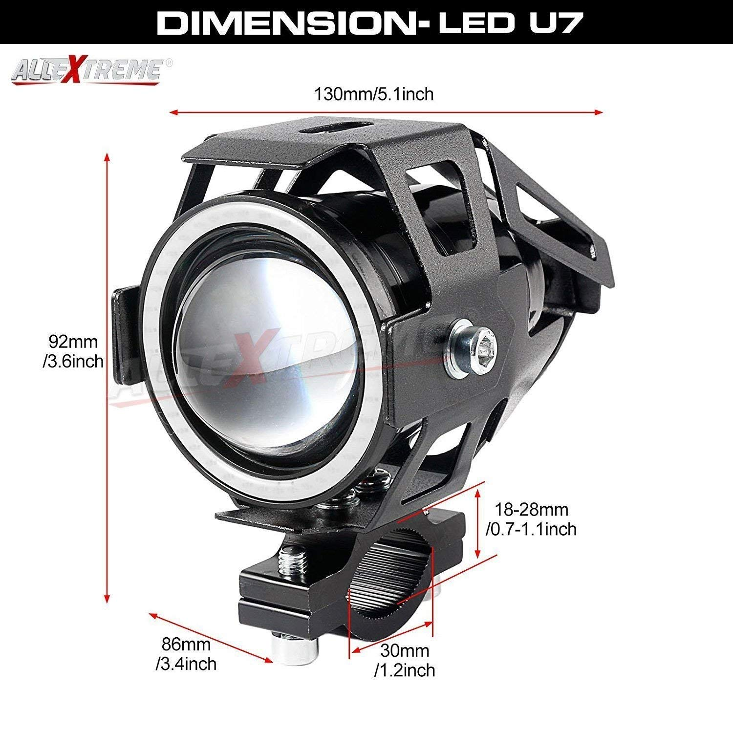 Allextreme Exu7br2 U7 Cree Led Fog Light Work Lamp With Hi Low Royal Enfield E Start Wiring Diagram Flashing Beam And Red Angel Eye Ring For Cars Motorcycles 12w 2 Pcs