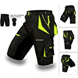 XOGO Cycling MTB Shorts, Coolmax Padded, detachable Inner Lining, Free Style Adult Size -Black/Fluorescent