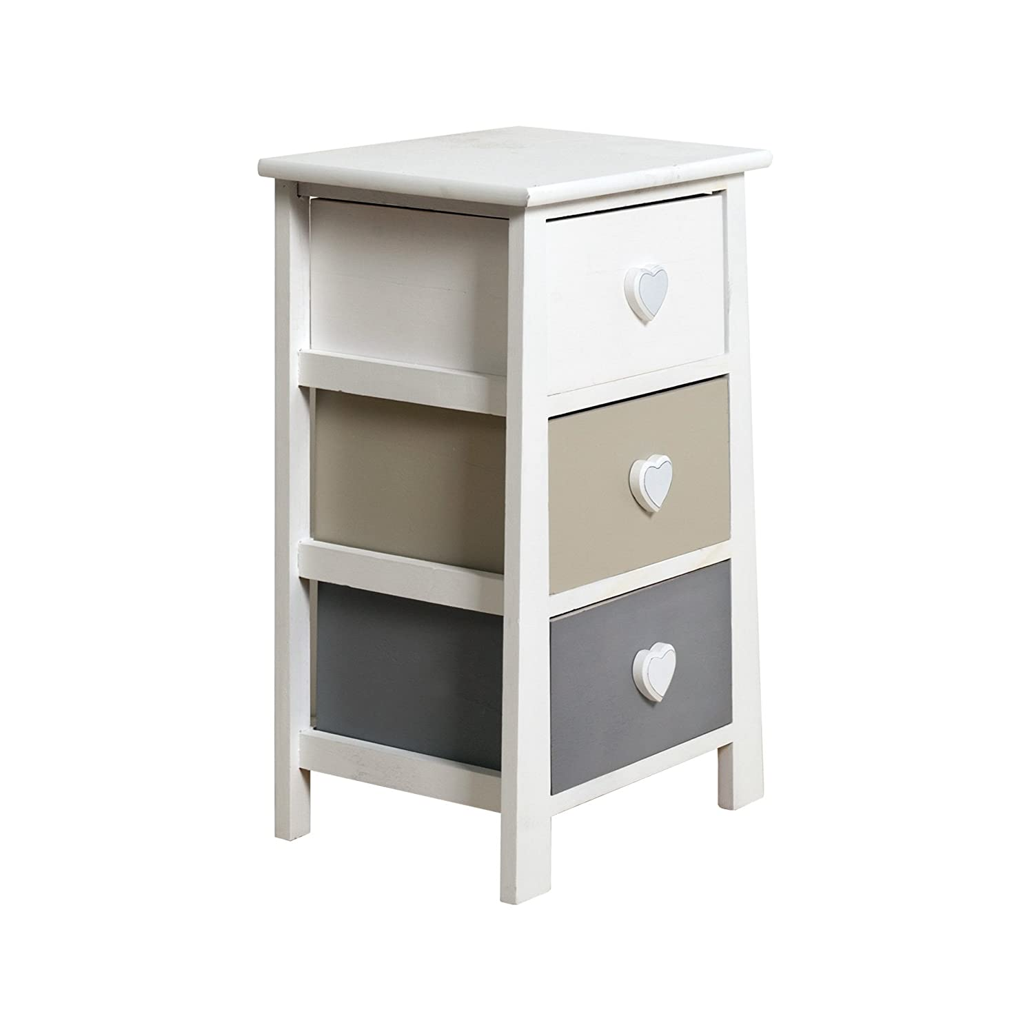- Art 81 x 26 x 32 cm RE4560 Rebecca Mobili Cabinet Sideboard Chest Of Drawers Grey Wood Natural Shabby Chic Vintage French Bedroom Bathroom H x W x D