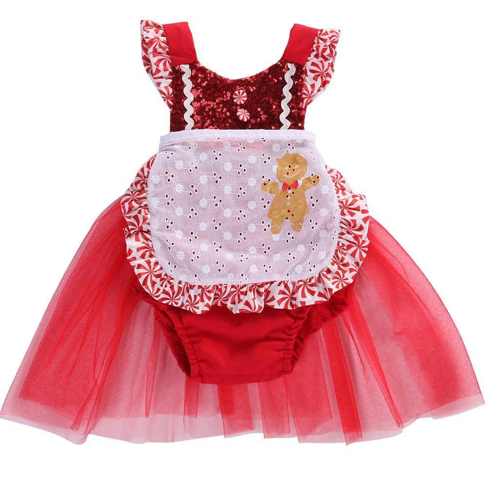 Infant Baby Girls Sequin Christmas Apron Tulle Dress Jumpsuit Romper Tutu Outfits