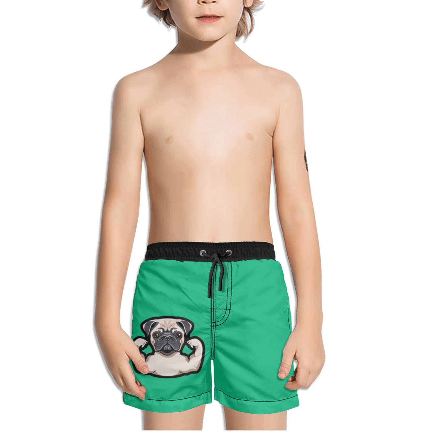 Juliuse Marthar Pug Funny Dog with Musculs Green Swim Trunks Quick Dry Beach Board Shorts for Boys