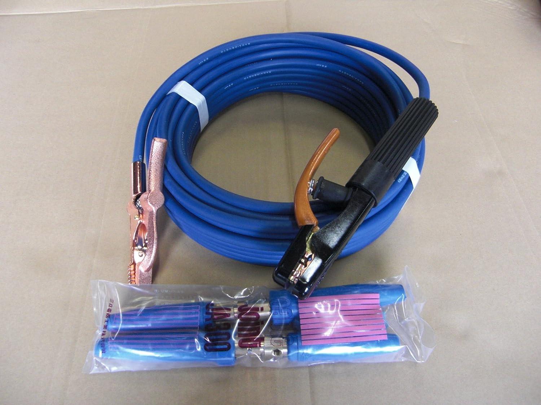 ウエルダー用キャプタイヤケーブル青22スケア安全ホルダー側10mとアースグリップ側10mのトータル20mジョイント付溶接機用  B00BTTOGBK