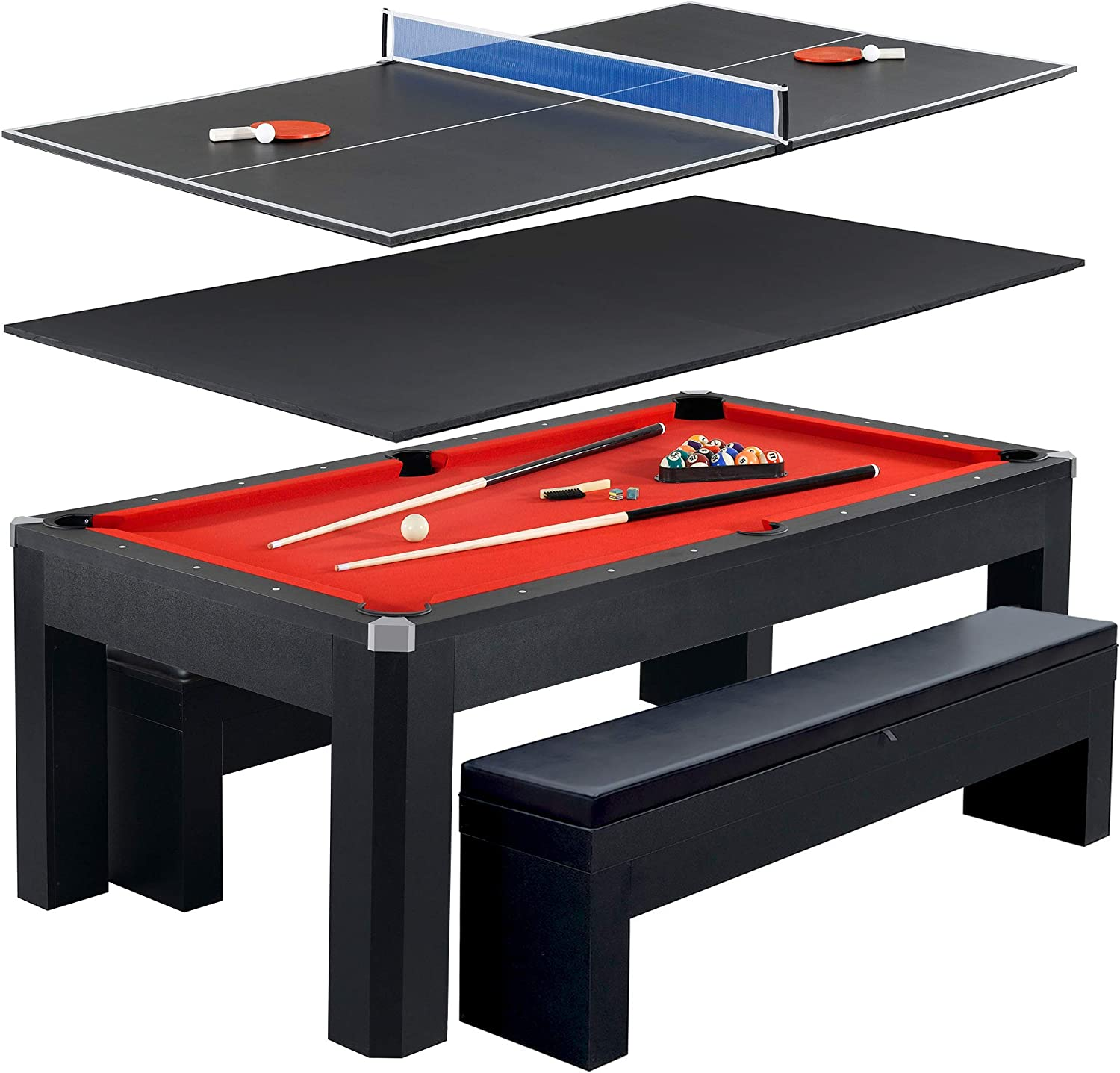 Hathaway Park Avenue 7 Pool Table Tennis Combination with Dining Top, Two Storage Benches, Free Accessories