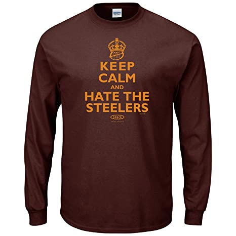 d15043a6 Smack Apparel Cleveland Football Fans. Keep Calm and Hate The Steelers  Brown T-Shirt