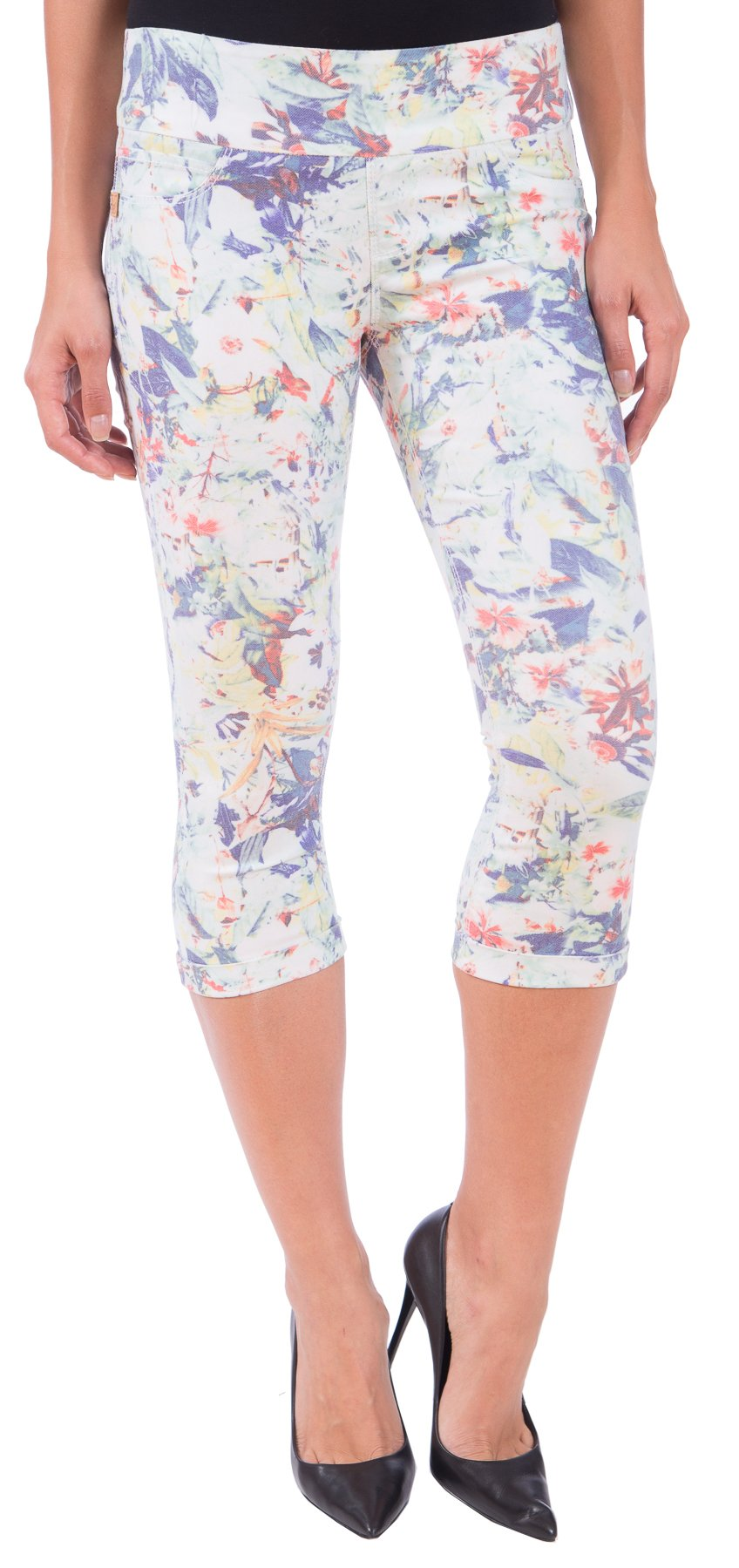 Lola Jeans Women's Michelle Mid Rise Pull On Capri Denim (Summer Paradise, 27/2)