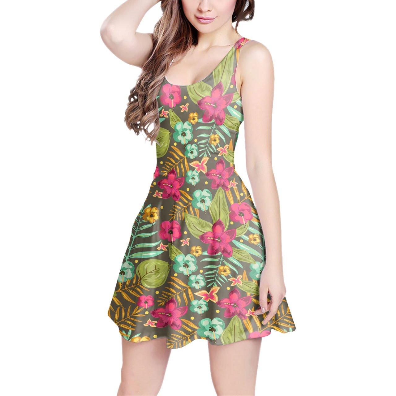 Retro Hawaii Blooms Sleeveless Dress XS-3XL Skater Stretch Flare Dress