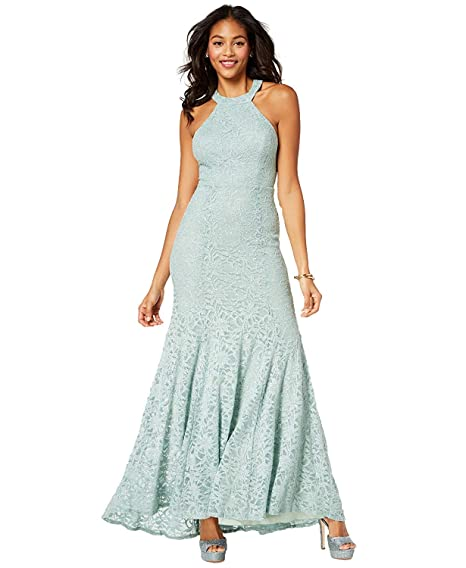 54ccdb02b2 Amazon.com  B Darlin Juniors  Glitter Lace Strap-Detailed Gown (1 2 ...