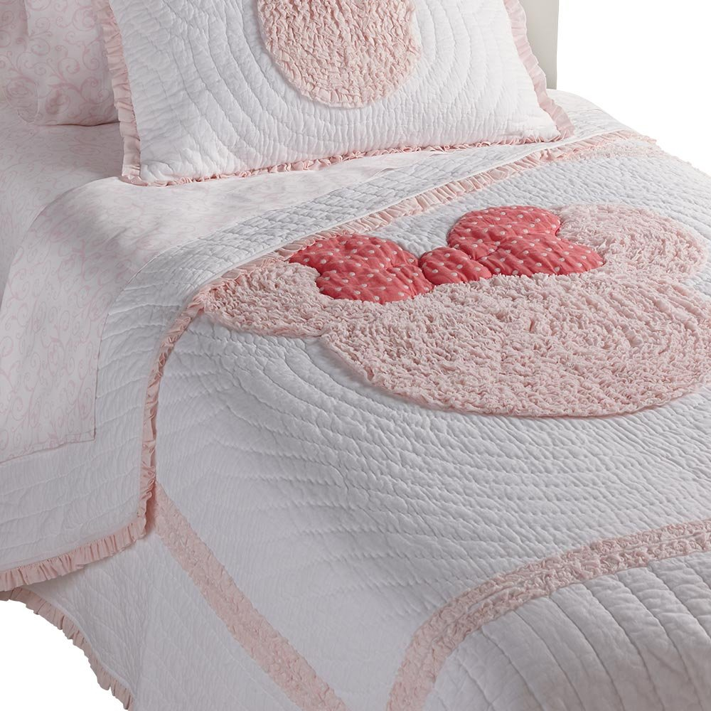 Ethan Allen | Disney  Minnie Mouse Really Ruffle Quilt, Petal (Light Pink), Twin