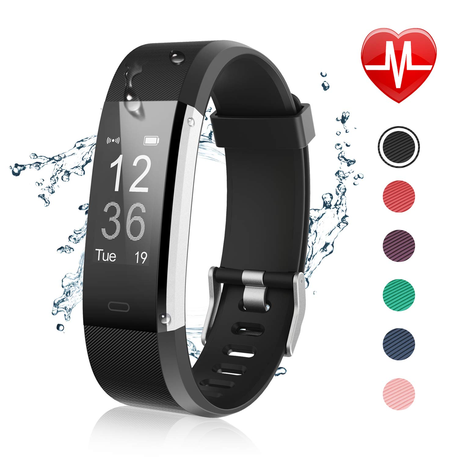 Letsfit Fitness Tracker with Heart Rate Monitor, IP67 Water Resistant Activity Tracker Watch, Smart Watch with Calorie Counter, Pedometer Watch for Kids Women and Men by Letsfit