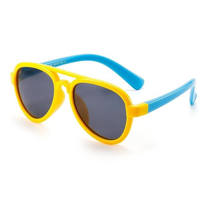 JM Niños Flexible Goma Gafas de Sol Polarizadas Aviador ...