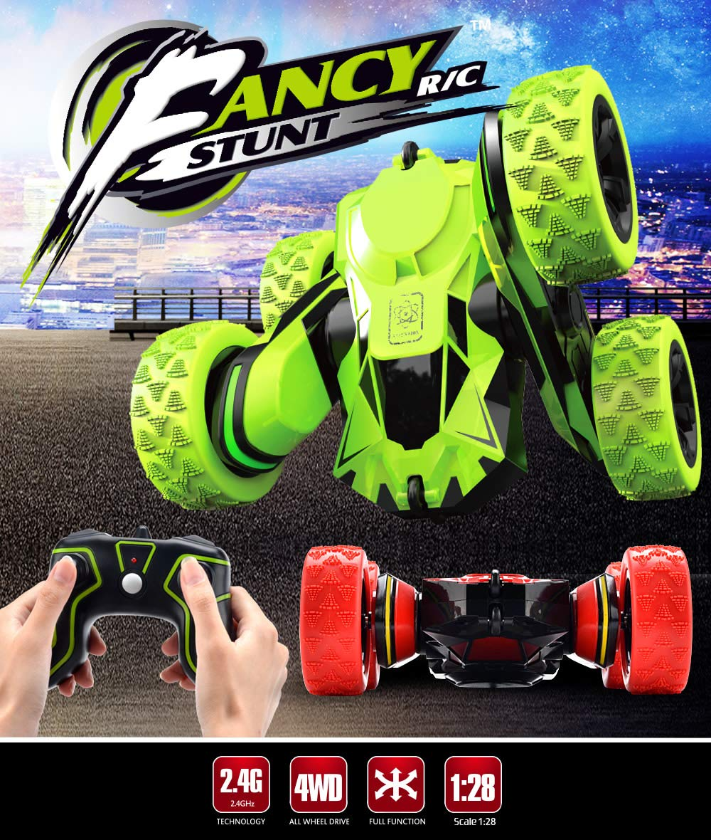Threeking Rc Stunt Car Remote Control Off-Road Truck Double Sided Tumbling 360 Degree Rotation 3D Deformation Dance Car 1:28 2.4Ghz Rechargeable Stunt Car Great Gift for Kids - Green by Threeking (Image #1)