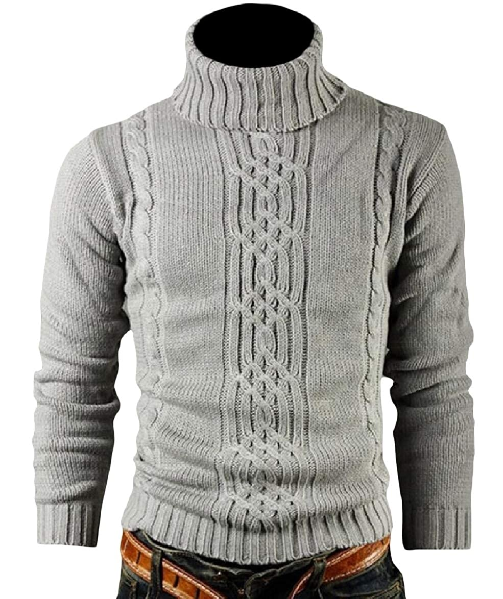 Tingwin Mens Long-Sleeve Turtleneck Skinny Knit Solid Pullover Sweater Top