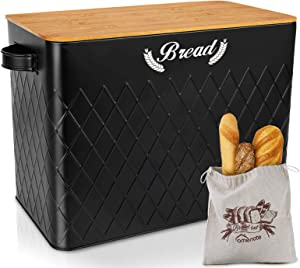 HOMENOTE Extra Large Black Farmhouse Bread Box with Linen Bread Bags for Kitchen Countertop, Metal Bread Bin with Bamboo Lid, Bread Storage Holder Fits 2+ Loaves, Kitchen Decor Organizer