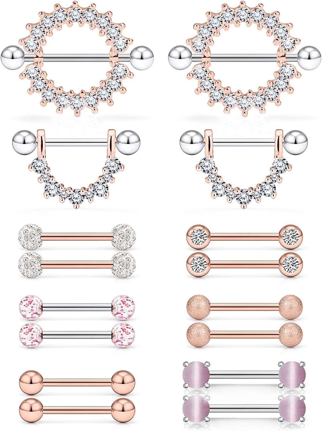 Lcolyoli 16G Cat's Eye Stone Nipple Rings Surgical Steel Dangle Nipplerings Tongue Ring CZ Straight Barbell Piercing Body Jewelry for Women Men 8 Pairs