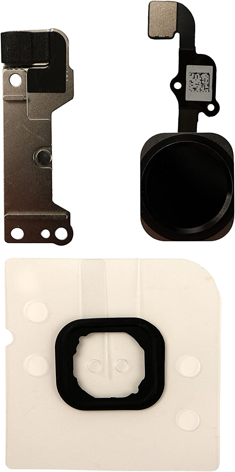 COHK Home Button Key Flex Cable Assembly with Rubber Ring Replacment Part for iPhone 6 and 6 Plus (Black)