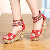 getmorebeauty Women's Wedge Sandals Pearls Across