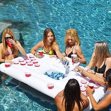 Amazon.com: Flotador hinchable, mesa flotante flotante de ...