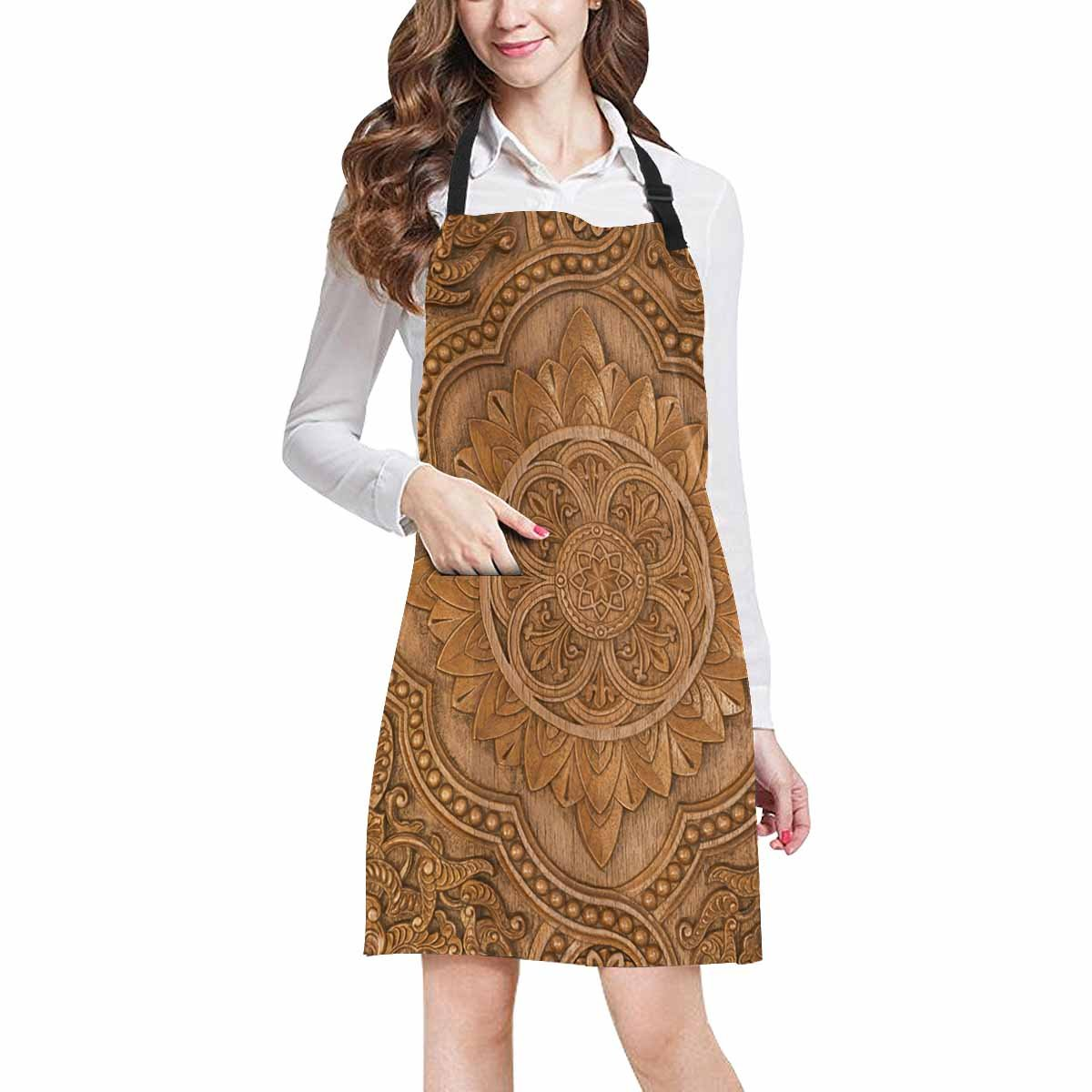 InterestPrint Retro Mandala Style Floral Circle Wood Carving Art Chef Aprons Professional Kitchen Chef Bib Apron with Pockets Adjustable Neck Strap, Plus Size